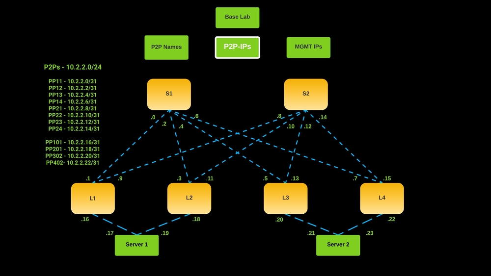 network automation lab - P2P IPs
